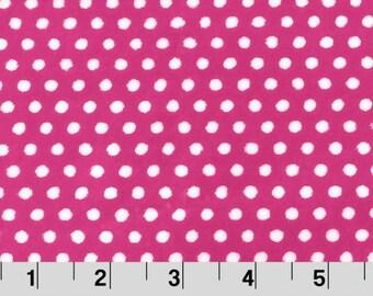 Fuchsia/Snow Swiss Dots Cuddle Minky From Shannon Fabrics