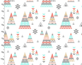 Teepees on White from 3 Wishes Fabric's Kohana Collection