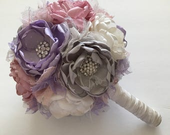 Pale Dusty Pink, Lavender, Cream and Silver Bouquet - Fabric Flower Bouquet, Fabric Wedding Flowers, Fabric Bouquet, Purple and Pink, Soft