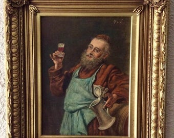 Sale Antique Vintage Oil Painting Portrait of a Jewish Man Drinking O/B Art Baroque Gold Frame Home Decor