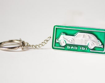 Soviet keychain limousine ZIS 101, nomenclature car image key fob, green sliver shades keychain fun, lightweight key chain stocking stuffer