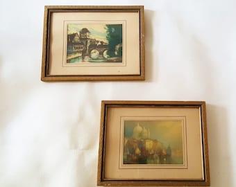 Vintage Pair Frame  Minature Landscapes Old World Colored Landscape Prints England Venice Landscape Prints Ornate Gold Wood Frames