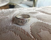 Spoon Ring - BADASS - Upcycled Spoon - Silverplate Spoon Ring -  Stamped Spoon Ring - Unique Ring Banburry Brookwood - Size 9  (02794-LV)