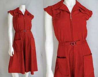 70s Rust Orange Stretchy Shirt Dress with Belt A line - S M