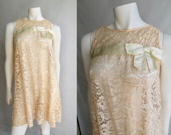60s Mod Bell Dress in Beige Lace with Satin Bow - S