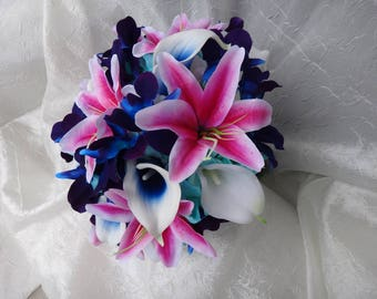 Purple galaxy orchid, fuchsia lily, royal blue calla, galaxy theme wedding bouquet, singapore orchids, turquoise hydrangeas