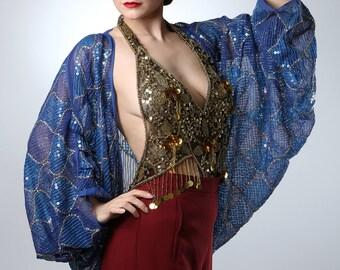 Blue Sequin Embroidered Shrug
