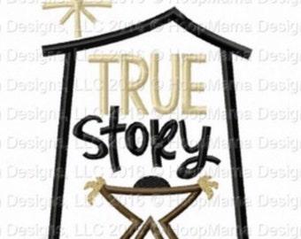 Christmas manger True Story shirt  - Holiday applique shirt - Christmas shirt - applique design -monogram shirt - Christmas