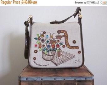 Enid Collins / Enid Collins Purse / 70s Bag / Jeweled / Collins of Texas / Collins of Texas Bag / Gem / Khaki Bag / Folk Art / Floral Bag