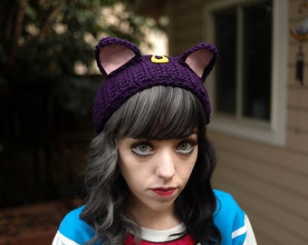 Luna - Handmade Sailor Moon Kitty Ears Crochet Ear Warmer Headband