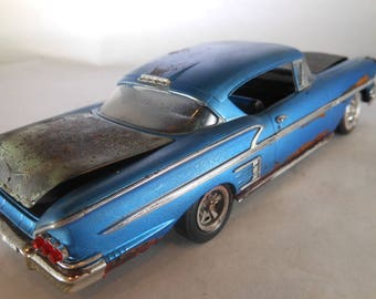 Chevy Impala,Blue Chevy,Rock and Roll,Elvis Presley,Scale Model Car,Toy Car,Classicwrecks,Rat Rod