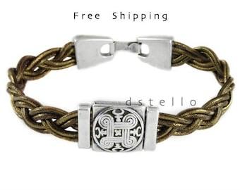 Celtic bracelet, custom mens leather bracelet, celtic jewelry, Ireland, scottish gift, unisex, customized color, size, antique silver color