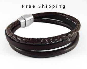 Custom men's leather bracelet - Men's bracelet - Gift for Him - Jewelry bangle - Wrap cuff, husband, fiance, brother - Rustic look