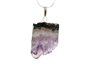 Raw Amethyst Slice Necklace. Natural Stalactite Amethyst Druzy Necklace. 925 Sterling Silver Chain Necklace. Gift For Her.