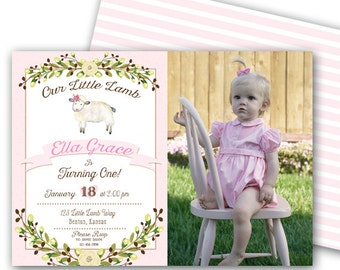 Little Lamb Birthday Invitation 5x7 Baby Lamb Pink Little Lamb Invitation Lamb Party Lamb Birthday Lamb Invitation Baby Lamb