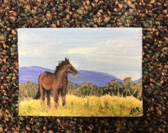 """Miniature Canvas Horse Painting 2 1/2"""" x 3 1/2"""""""