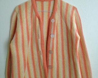 Hand knit Orange Yellow Striped Cardigan Sweater Women's Size Small