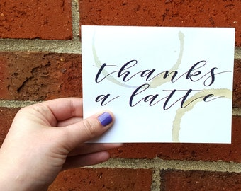Thanks a Latte Thank You Single Card with Matching Brown Card