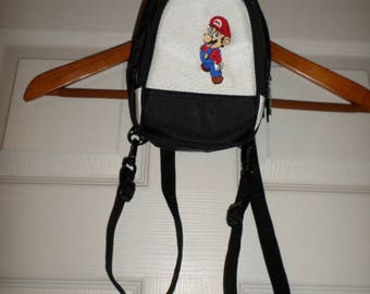 Vintage Nintendo Bag Small Backpack Case Carrier Black & White Mario