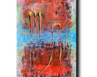 Art Painting Canvas painting ORIGINAL  ABSTRACT  PAINTING on canvas  ''Interpretation of Red'' 36''x24'' Acrylic on Canvas