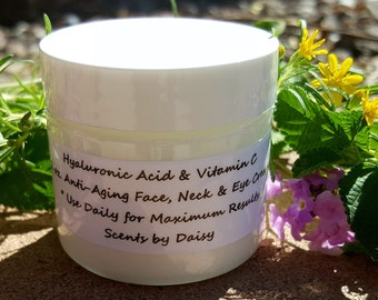 Hyaluronic Acid, Vitamin C - Face, Neck and Eye Cream - Fade Spots, Lines, Wrinkles - 2 or 4 oz Jar