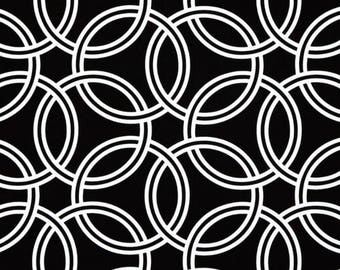 Black and White Geometric Fabric CLEARANCE SALE  Swirl Canvas Yardage, Circles, Rings, Cotton, Home Decor, Michael Miller Pillowcase