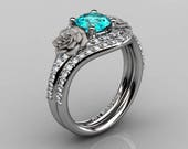 Rose Vine 10K White Gold 1.25 Ct Paraiba Tourmaline Diamond Floral Engagement Ring R527-10KWGDPATO