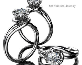 Classic 14K White Gold 1.0 Ct Diamond Solitaire Ring R559-14KWGD
