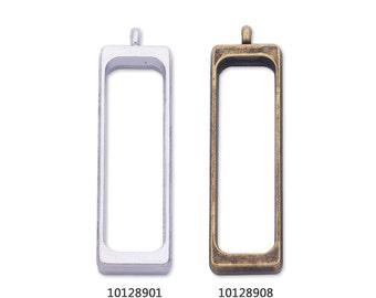 10 Metal Rectangular frame 40.3*12*4mm open back pendant Resin Setting Blanks