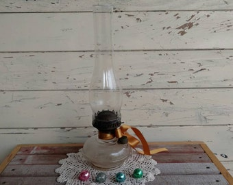 Antique Clear Glass Rustic Oil Lamp With Matching Fluted Shade - Vintage Bedside Light, Home Decor, Whimsical Lights, Vintage Bedside Lights