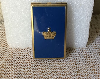 Compact,Art Deco Compact,Vintage Compact, Prince Matchibelli 18K Gold Electroplated Compact, Navy Blue Enameled Compact