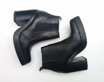 Chelsea Boots / Pointy Black Leather Minimalist Chelsea Platform CHUNKY Platform Heel Motorcycle Chic Ankle Slip On BOOTS