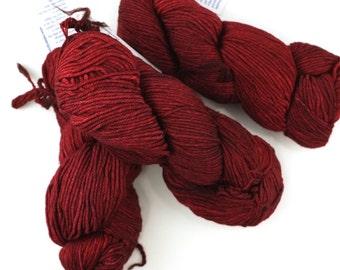 Malabrigo Rios yarn, color Cereza, dark red, #033, superwash knitting yarn