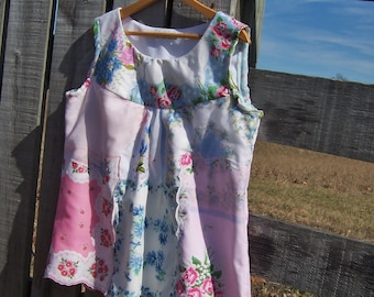 Women's Shirt Upcycled Hankies, Crazy Quilt Sleeveless Smock Top from Vintage Handkerchiefs Size XL- XXL in Pink and Blue Patchwork Design