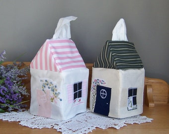 Quilted Tissue Box Cover, Get Well Gift, Bathroom Decor, Kleenex Box Cover, Cottage Style House Made from Upcycled Hankies, Tissue Dispenser
