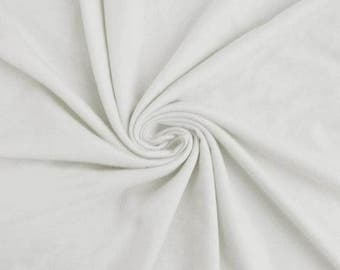 White 100% Cotton French Terry Fabric by the yard (295)