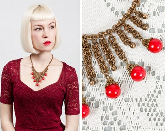 Vintage 1930s / 1940s Miriam Haskell Brass and Red Plastic Bauble Bib Necklace
