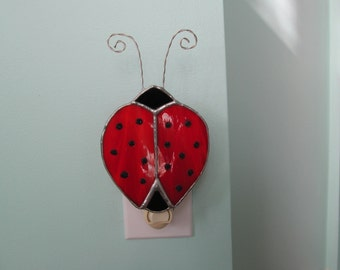 "Stained Glass ""Ladybug"" Night Light - Authentic Stained Glass - Great for Childrens Rooms - Whimsical Gift Idea"