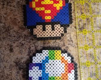 Mario Brothers mushroom rainbow hat or superman hat perler bead art, you pick.