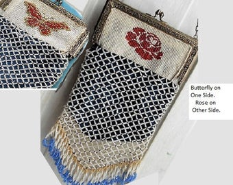 Antique Micro Beaded Purse, Blue & White, One Side Rose, One Side Butterfly, Tasseled Just Gorgeous Inside and Out, 65 Years.  Only  149.90