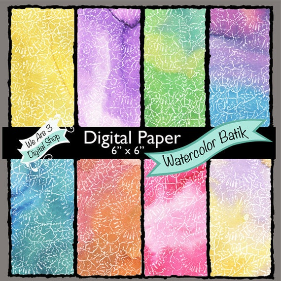 We Are 3 Digital Paper, Watercolor Batik