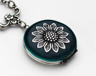 Sunflower Necklace, Sunflower Locket Necklace, Sunflower Locket, Sunflower Jewelry, Sunflower Pendant, Birthday Gift, Bridesmaid Gift