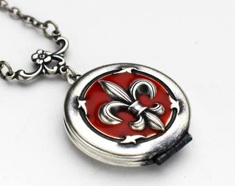Silver Locket Necklace, Red Fleur De Lis Locket, Locket Necklace for Women, Red Locket, Resin Locket