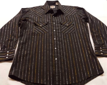 Vintage Ely Cattleman Mens L/S Pearl Snap Black Striped Cowboy Western Shirt Metallic Gold Silver