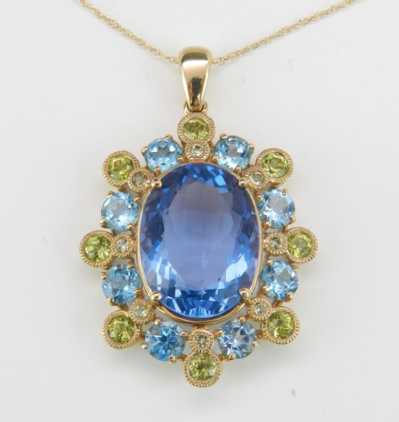 """Blue Topaz and Peridot Cluster Flower Necklace Pendant Yellow Gold Chain 18"""" August and December Birthstone"""