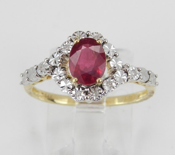 14K Yellow Gold Diamond and Ruby Bypass Engagement Ring Size 7 July Birthday