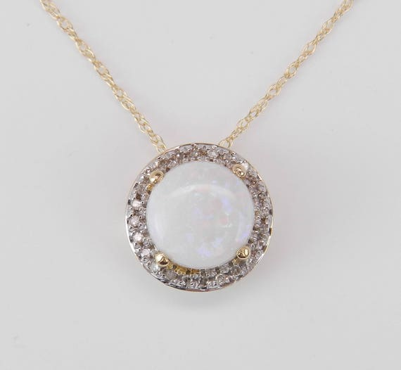 "Diamond and Opal Halo Pendant Necklace 14K Yellow Gold 18"" Chain October Birthstone"