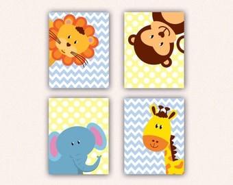 Jungle Animal Nursery Print Set - Elephant Monkey Giraffe Lion Kids Bedroom Art, Chevron and Polka Dot Safari Decor in Yellow & Blue (5008)