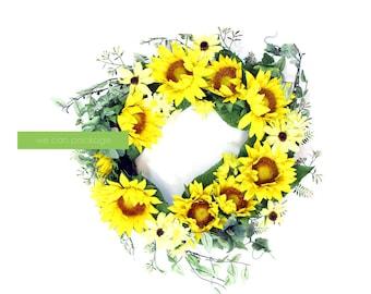 Artificial Sunflower Wreath | 24 Inches | Autumn Wreath | Front Door Wreath | Bohemian Home Decoration