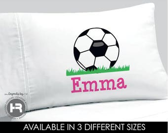 Soccer Pillowcase - GIRLS Personalized Soccer Pillow case - Standard Personalized Pillowcase